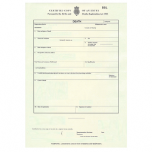 Buy UK death certificate